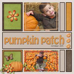 Sweet Pumpkin Patch Scrapbook page ~ I like this simple layout idea. Baby Scrapbook, Scrapbook Paper Crafts, Scrapbook Cards, Scrapbook Sketches, Scrapbook Page Layouts, Scrapbook Examples, Scrapbook Templates, Halloween Scrapbook, Digital Scrapbooking