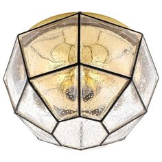 Limburg Flush Mount Light, Brass and Amber Iron Glass, 1960s | From a unique collection of antique and modern flush mount at https://www.1stdibs.com/furniture/lighting/flush-mount-ceiling-lights/