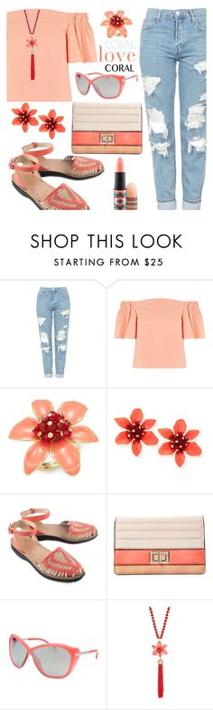 """Coral-Love-Coral"" by rasa-j ❤ liked on Polyvore featuring Topshop, Kate Spade, Ix Style, Melie Bianco, Porsche Design and MAC Cosmetics"