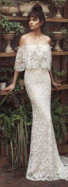 Wedding Dress by Julie Vino 2017 Romanzo Collection Off the shoulder fitted lace bridal gown Western Wedding Dresses, Lace Wedding Dress, Wedding Bridesmaid Dresses, Bridal Lace, Bridal Dresses, Wedding Gowns, Floral Wedding, Wedding Reception, Lace Weddings