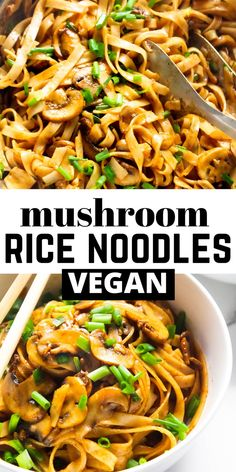 Vegetarian Rice Noodle Recipes, Easy Rice Noodle Recipes, Vegetarian Mushroom Recipes, Chinese Noodle Recipes, Vegan Vegetarian, Asian Vegetarian Meal, Chinese Rice Noodles, Veggie Recipes, Mushroom Asian Recipe