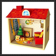 Christmas Doll House Free Diorama Papercraft Download