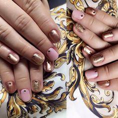 gel lac nail polish, metalic pink, shiny pink, golden with rhinestones
