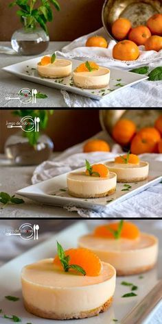 Pasteles de mandarina (in Spanish) wish I knew Spanish Köstliche Desserts, Delicious Desserts, Dessert Recipes, Yummy Food, Plated Desserts, Mexican Food Recipes, Sweet Recipes, Food Porn, Cooking Recipes