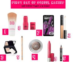 back to schoo week: first day of school makeup (drugstore and no brushes)