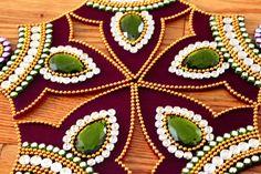Purple Green Rangoli Kundan Rangoli Bollywood inspired by Nirman Thali Decoration Ideas, Diwali Decorations, Indian Wedding Decorations, House Decorations, Diwali Inspiration, Acrylic Rangoli, Mandala, Cold Porcelain Flowers, Diwali Craft