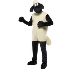 Shaun das Schaf Kostüm mit Jumpsuit und Kopfbedeckung, One Size