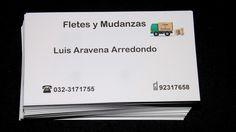 Tarjeta de presentación, Luis Aravena Arredondo, fletes y mudanzas. Diseños e Impresiones Peña. Dimpena Valparaíso
