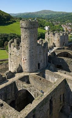 Towers of Conwy Castle in Northern Wales