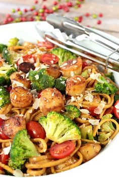 and friends around a big bowl of Linguine with Caramelized Scallops ...