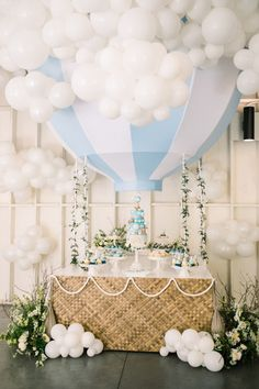 Sky-themed 1st birthday party   Birthday balloon installation   100 Layer Cake   Premiere Party Rents   first birthday party, baby shower ideas