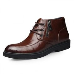 Men wool lining shoes get taller 6.5cm / 2.56inch brown zip elevated cotton boot