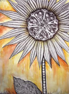 Sunflower Skeleton  Print of Pen and Watercolor Original by Tbedal, $40.00