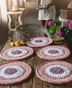 Items similar to Units of Bajo-Platos made Trapillo to crochet 35 cm. in diameter. on Etsy Crochet Motifs, Crochet Doilies, Crochet Patterns, Love Crochet, Knit Crochet, Crochet Placemats, Crochet Home Decor, Crochet Kitchen, Crochet Accessories