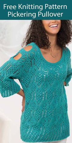 Free Sweater Knitting Pattern Pickering Lace Pullover - Lace cold shoulder sweater with cutouts over arms. Sizes Small to 2XL. Designed by Anna Al. Worsted weight yarn.