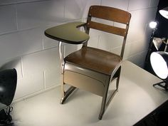 Vintage Industrial School Chair Student Desk Cubby – EclectiquesBoutique.com