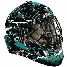 """NHL San Jose Sharks SX Comp GFM 100 Goalie Face Mask by Franklin. $35.61. Show your team spirit with the Franklin San Jose Sharks NHL Team Goalie Mask Emblazoned with officially licensed team logos and colors and featuring High impact ABS Plastic with antimicrobial technology. Anatomically designed for safety and comfort with adjustable quick-snap straps to ensure proper fit. Sized for kids ages 5-9 and only for street hockey use. Not intended for ice hockey or any type of """"puck"""" play."""