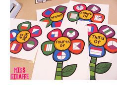 Fractions in First Grade: Fraction Flowers make perfect classroom posters or fraction bulletin board