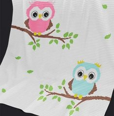 Crochet Pattern   Baby Blanket / Afghan - Baby Owls