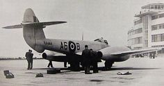 Gloster Meteor jet at Dublin Airport The first jet aircraft to land in Ireland. Gloster Meteor, Dublin Airport, Local History, Fighter Jets, Aircraft, Black And White, Ireland, Twitter, Aviation