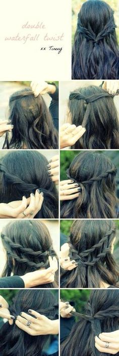 Interesting double water fall twist hair do