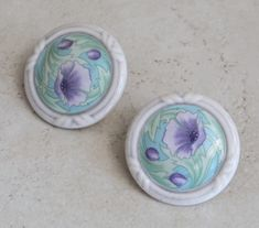 Ceramic Button Earrings Round Purple Poppies Floral Clip On Vintage by cutterstone on Etsy
