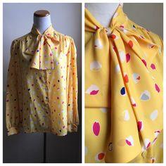 Vintage Secretary Blouse | Bow Neck Tie Mid Century Ladies Top | Yellow Art Deco Pattern Silky Blouse | Ascot Shirt | Judy Bond, Jonquil NOS by VintageBobbieMaude on Etsy