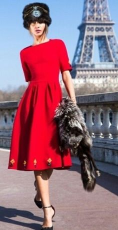 Parisian Chic- Russian hat and Russian red.- @LadyLuxeJewels