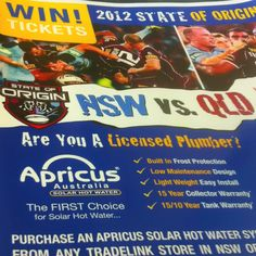 Apricus and Tradelink state of origin promotion running until the end of May!! Check it out!
