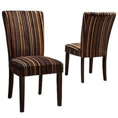 Set of Parson Fabric Dining Chairs- Brown Tenor Stripe