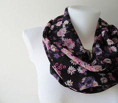 Black Floral Pattern Chiffon Infinity Scarf - Circle Scarf - Loop Scarf - Fall Winter Summer Fashion