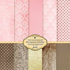 Digital papers  Milkshake  Brown and Pink by TracyAnnDigitalArt, $4.95