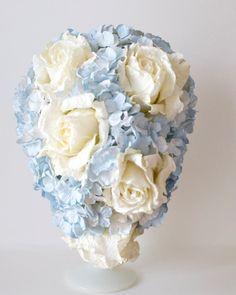 Pale blue and cream paper flower teardrop by AlternativeBlooms, $187.00 Great idea! Instead of flowers