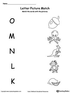 Uppercase Beginning Letter Sound: O M N L K: Encourage your child to learn letter sounds by practicing saying the name of the picture and connecting with the correct letter in this printable worksheet.