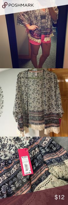 Boho chic paisley cover up/ cardigan! so cute for the summer with an outfit or on the beach! NWT! paisley/ floral design with fringe at the bottom Xhilaration Sweaters Cardigans