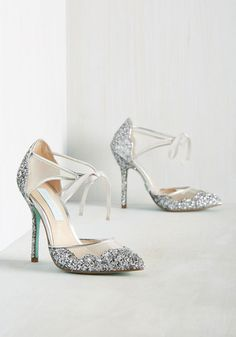 #ad Viva la Diva Wedding Heel in Silver by Blue by Betsey Johnson - Silver, Solid, Scallops, Glitter, Special Occasion, Prom, Wedding, Party, Cocktail, Holiday Party, Bride, Homecoming, Luxe, High, Best, Variation, Silver, Metallic, Mixed Media