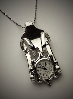 Gorgeous Watch pendant made from an antique fork by GertieBirdie, $110.00