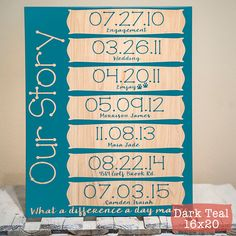 Our Story Sign - What A Difference a Day Makes - Personalized Family Sign - Important Dates Sign - Wood Engraved Sign by PWEGifts on Etsy https://www.etsy.com/listing/256019825/our-story-sign-what-a-difference-a-day