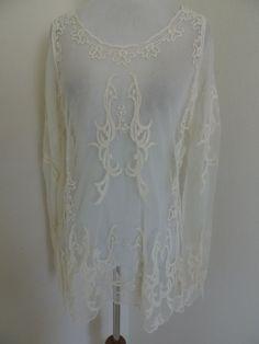 Anna-Kaci op Shirt Blouse Sheer Feminine Delicate Top S Small NEW NWT #AnnaKaci #SheerTop