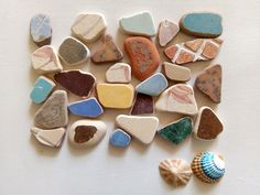 Colorful Genuine Sea Pottery, Tiles 27 pieces Sea Urchin Shell, Sea Shells, Art Projects, Tiles, Pottery, Colorful, Handmade, Etsy, Room Tiles