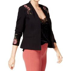 Xoxo Embroidered Floral Blazer on Mercari Blazer Price, Floral Blazer, Lace Sheath Dress, Collar Styles, Review Dresses, Blazer Buttons, Black Blazers, Vest Jacket, Stylish Outfits
