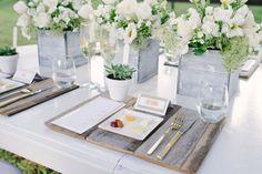 Rustic and Modern White Wedding Inspiration - shingle settings