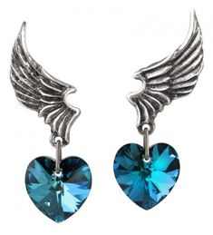 El Corazon Winged Heart Pewter Earrings at Jewelry Gem Shop, Sterling Silver Jewerly Gothic Jewelry, Unique Jewelry, Gem Shop, Halloween Jewelry, Jewelry Polishing Cloth, Blue Crystals, Ear Piercings, Pewter, Gemstone Jewelry