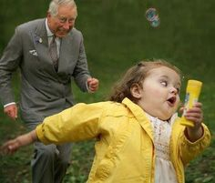 Prince Charles chasing a little girl, makes me laugh every time XD