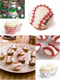 Sports Cupcakes & Sports Cupcake Decorating Ideas « Couture Cupcakes by Dress My Cupcake™. Would love as softballs! Baking Cupcakes, Yummy Cupcakes, Cupcake Cookies, Party Cupcakes, Cupcake Wrappers, Cookie Decorating, Decorating Ideas, Cupcakes Decorating, Decor Ideas