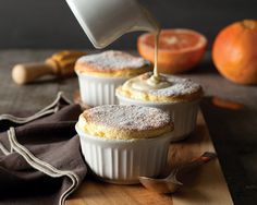 This recipe is approachable enough for the novice soufflé-maker, and will have you whipping up the most delicious grapefruit soufflés in no time. Mini Desserts, Just Desserts, Dessert Recipes, Mousse, Tiramisu, Sauces, Pudding, Gluten Free Desserts, Deserts