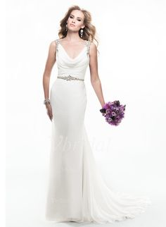 Wedding Dresses - $151.99 - Sheath/Column Cowl Neck Sweep Train Chiffon Wedding Dress With Ruffle Beading (0025056595)
