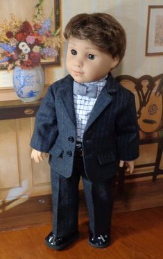 Black Pinstripe Suit Boy Doll Clothes, Doll Clothes Patterns, Doll Patterns, Clothing Patterns, Doll Outfits, Doll Dresses, Doll Crafts, Diy Doll, Ag Dolls