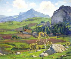 William Wendt (1865-1946). Pasture and Tilled Field, 1925. Oil on canvas,Height: 76.2cm (30 in.), Width: 91.44cm (36 in.)