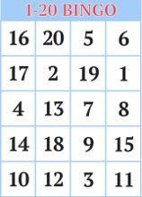 Printable 1-20 Bingo <br />Cards for Kids